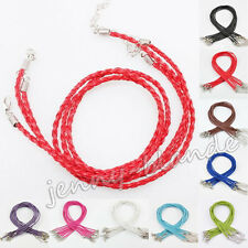 Lot 10X Leather Braid Rope Hemp Cord Lobster Clasp Chain Necklace Making Craft