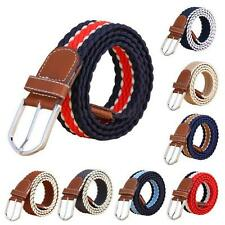 Mens Durable Canvas Woven Webbing Stretch Belt Waistband Metal Pin Buckle Strap