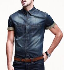 Mens Casual Jeans Shirt Short Sleeve Slim Fitted Button Front Blue M to XXXL