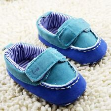 Baby boy girl toddle infant Blue cloth soft  Crib Shoes sneaker Size 0-18 Months