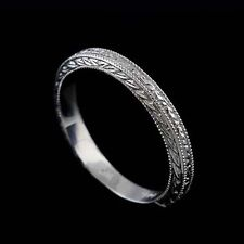 14K Solid White Gold Art Deco Style Engraved Milgrain Wedding Band Ring 2.9 mm