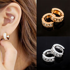Pair Mens Stainless Steel Hoop Ear Helix Ear Hoop Stud Earrings Huggies Piercing