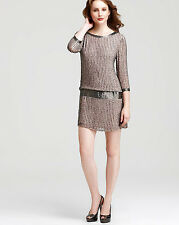 NWT ADRIANNA PAPELL Beaded Embellished Gray Silk Open Back  Clubwear Dress $280