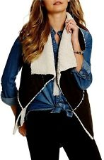 NEW! Coco & Jameson Faux Suede Shearling Lined Black Vest $49