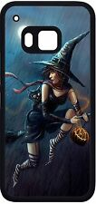 Halloween Flying Witch on broom cat Phone Case for HTC one m9 m8 LG G4 G3 Moto x