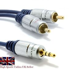 Pro Audio Metal 3.5mm Stereo Jack Plug to Twin 2 RCA Phono Plugs Audio Cable UK