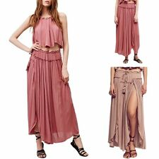 Womens Solid Loose Irregular Skirt Casual Asymmetrical Bohemian Maxi Dress