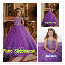 Flower Girl Dress Wedding Communion Prom BallGown Pageant Party Birthday purple