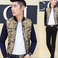 Korea Mens Autumn Stand Collar Zip Casual Slim Fit Lace Floral Jackets Coats 2XL
