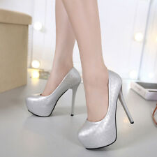 Artificial PU Pumps Round Toe Platform High Heels Stiletto Club Women's Shoes