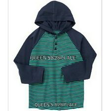 Nwt Crazy 8 Boys size 4 4T navy blue green striped thermal hoodie t-shirt top