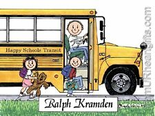 PERSONALIZED CUSTOM CARTOON PRINT - SCHOOL BUS DRIVER - GREAT GIFT! FREE S/H