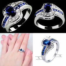 Size 7 8 9 Blue Sapphire CZ Engagement Ring Wedding Band 10KT White Gold Filled