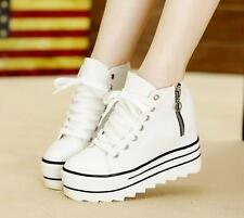 Women's fashion platform wedge med-heels canvas athletic lace-up casual shoes #