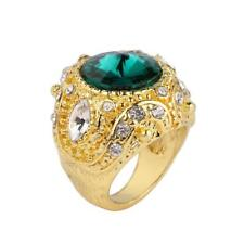 Retro Crown Rhinestone Ring Mosaic Carved Finger Rings Unisex Jewelry