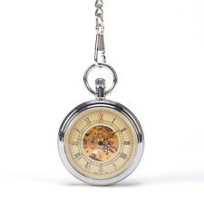 Roman Numbers Skeleton Pocket Watch Mens Royal Steampunk Vintage Antique Watch