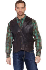 Cripple Creek Mens Antique Chocolate Leather Western Snap Front Vest
