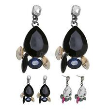 Women Jewelry Ear Studs Water Drip Shape Crystal Rhinestone Dangle Earrings