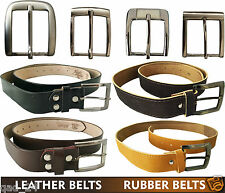 REAL GENUINE LEATHER BELTS / RUBBER BELTS MENS BOYS SILVER BIG SMALL BUCKLE NEW