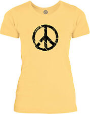Big Texas Smashed Peace Sign (Black) Womens Fine Jersey T-Shirt