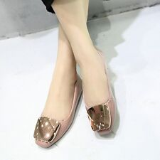 Solid Casual Lady Women Flats Heel Shoes Soft Metal Buckle Slip On Loafer Pumps