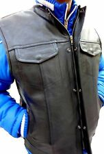 MEN'S COLLARLESS NAKED ANARCHY LEATHER MOTORCYCLE VEST WITH 2 GUN POCKETS INSIDE