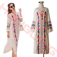 2016 Fashion Vintage Ethnic Flower Embroidery Cotton Linen Tunic Long Boho Dress