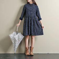 Japanese Vintage Mori Girl Print Long Sleeve Loose Autumn Preppy Style Dress