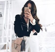 ZARA Black Cropped Short Jacket Blazer With Zips Sold out Bloggers new S M