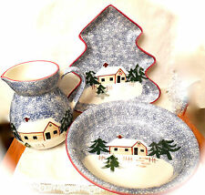 Cooks Bazaar Holly Mountain Lodge Serving Platter Pitcher,Cabin in the Snow TREE