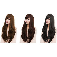 Women Long  Curly Wavy Full Wigs Party Hair Cosplay Wig SI