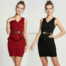 Women Sexy Sleeveless Dress High Waist Ruffle Solid Short Pencil Dress C1MY
