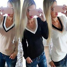 Women V-Neck Color Stitching Top Long Sleeves T-Shirt Shirt Blouse Perfect
