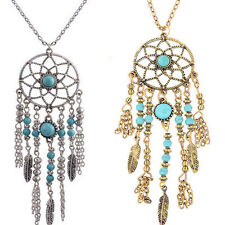 Long Sweater Womens Retro Turquoise Feather Pendant Chain Necklace Fashion