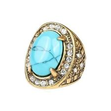 Blue Turquoise Rhinestone Ring Pattern Carved Bridal Party Women Men Rings
