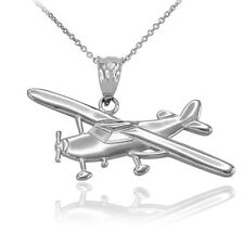 Polished 14k White Gold Piper Tri Pacer PA-20 Aircraft Airplane Pendant Necklace