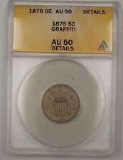 1875 US Shield Nickel 5c Coin ANACS AU-50 Details Graffiti PM