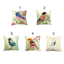 Colorful Printed Bird Cushion Covers Cotton Linen Throw Pillow Case