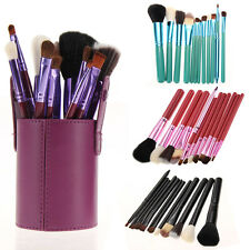 12PC Pro Soft Cosmetic Makeup Brush Tool Kit / Leather Holder Cup Storage Case