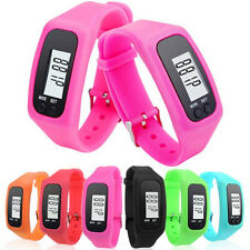 Men Women LCD Digital Pedometer Silicone Bracelet Date Sport Wrist Watch New