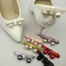 Black White Color Bow Faux Pearl Ball Wedding Bridal Shoe Clips Pair