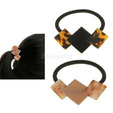 Novelty Diamand Square Elastic Hair Tie Bands Ponytail Holder Leopard Print