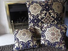 SET 1 LARGE& 2 SMALL 37X37CM FLOOR CUSHION COVER polyester/silk FANCY BLUE/MIXED