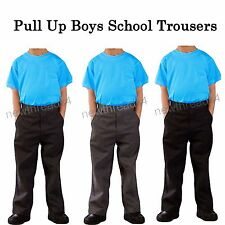 Boys Pull Up School Trousers Black Grey Charcoal grey Uniform Trousers Ex-Store