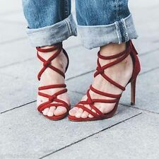 ZARA RARE! BURGUNDY AND BLACK KNOTTED HIGH-HEEL SANDALS. REF 2602/001