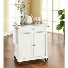 WOOD STAINLESS STEEL ROLLING CART PORTABLE KITCHEN ISLAND TABLE BREAKFAST BAR
