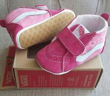 NEW Baby Girl Size 3 & 4 VANS Suede Canvas High Top Crib Shoes Sneakers Pink