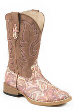 Roper Glitter Paisley Kids Brown Faux Leather Girls Cowboy Boots