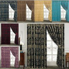 ROYAL JACQUARD Curtains Fully Lined Ready Made Tape Top Pencil Pleat Curtains