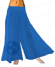 Women Chiffon Pleated Wide Leg Palazzo Career Crop Dress Pants Trousers Culottes
